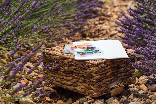 Lavendelfeldsommerlandschaft nahe valensole. das set des künstlers. nahansicht
