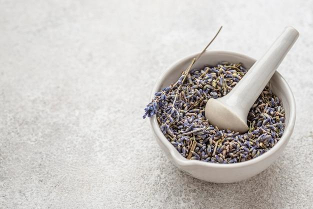 Lavendelpflanze in einer schüsselanordnung mit kopierraum