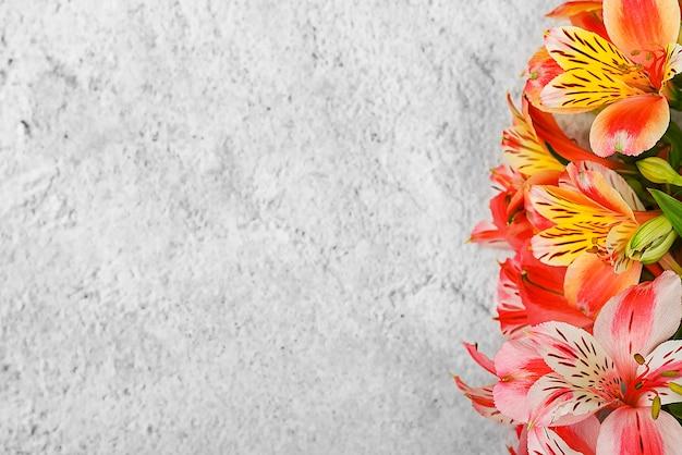 Layout für eine grußkarte. ein strauß schöner bunter orchideen auf hellem hintergrund.