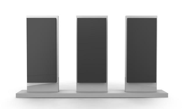 Lcd-display-ständer. 3d-darstellung auf weißem hintergrund
