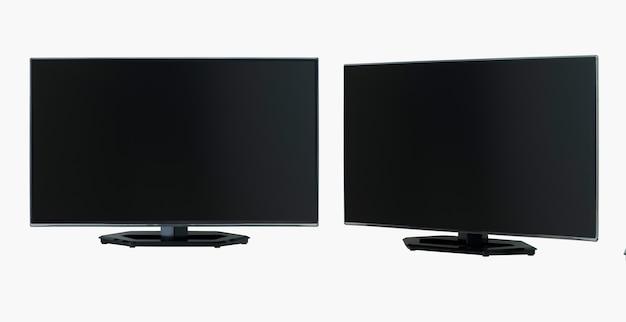 Lcd-flachbildfernseher in zwei winkeln auf weißem hintergrund