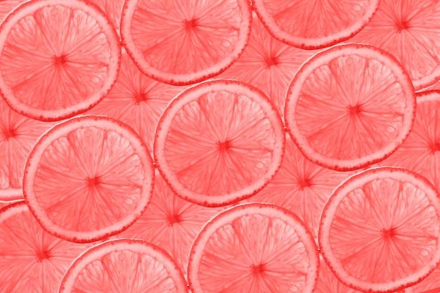 Lebendes korallenfarbmuster des abstrakten hintergrunds der grapefruitscheiben.