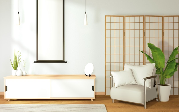 Lebendes modell tropical zen raum innenarchitektur auf raum japan stil und dekoration.3d rendering
