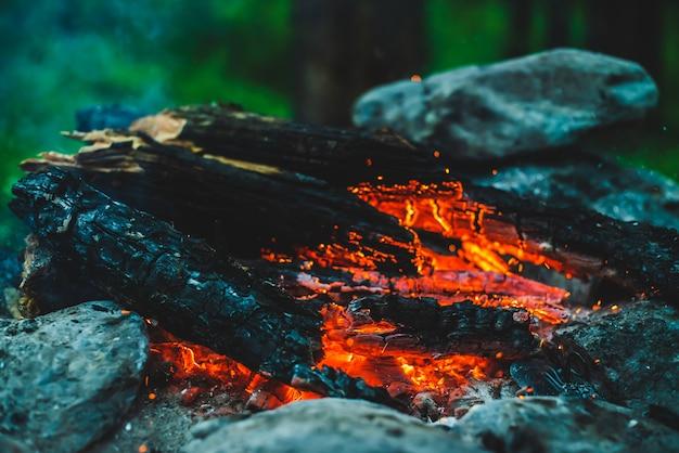 Lebendig schwelendes brennholz brannte in feuernahaufnahme