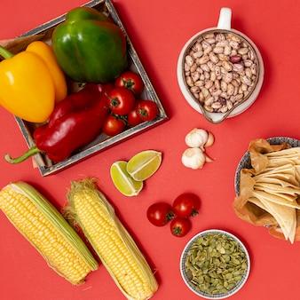 Lebendige bio-zutaten für die mexikanische küche