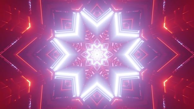 Lebendige kaleidoskopische abstrakte 3d-illustration des geometrischen sternförmigen musters des leuchtenden weißen neons mit leuchtendem rotem hintergrund