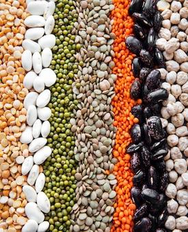 Lebensmittel natürliche oberfläche mit verschiedenen hülsenfrüchten gemacht