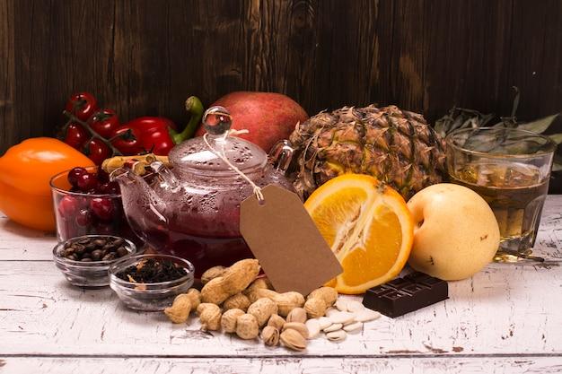 Lebensmittel und getränke reich an natürlichen antioxidantien