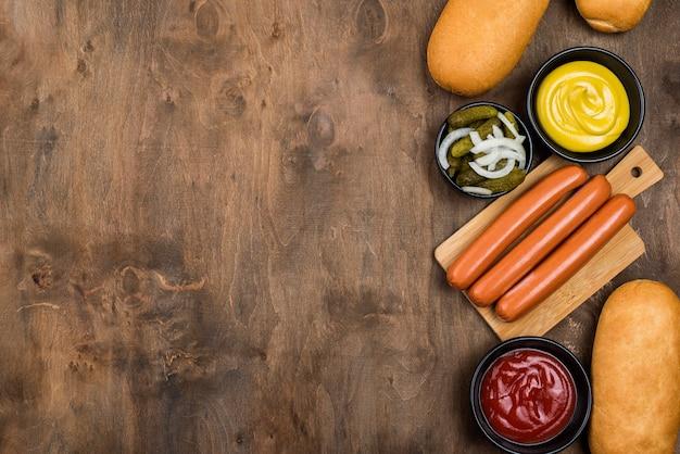 Lebensmittelrahmen mit kopierraum über der ansicht Kostenlose Fotos