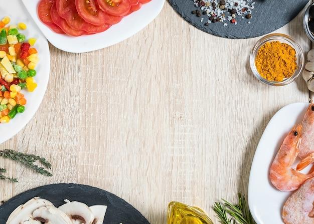 Lebensmittelzutaten zum kochen von kopienraum