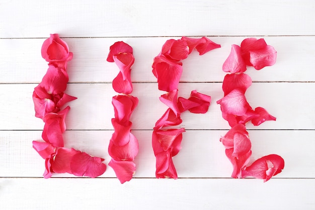 Lebenswort mit blütenblättern