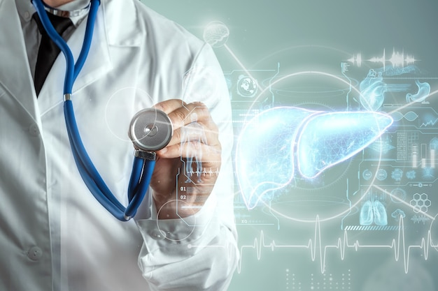 Leberhologramm, leberschmerzen. konzept für technologie, hepatitis-behandlung, spende, online-diagnostik. 3d-rendering, 3d-illustration.