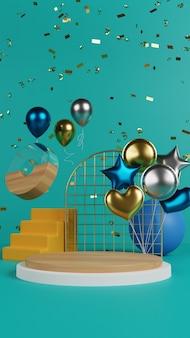 Lebhaftes podium mit ballon und konfetti