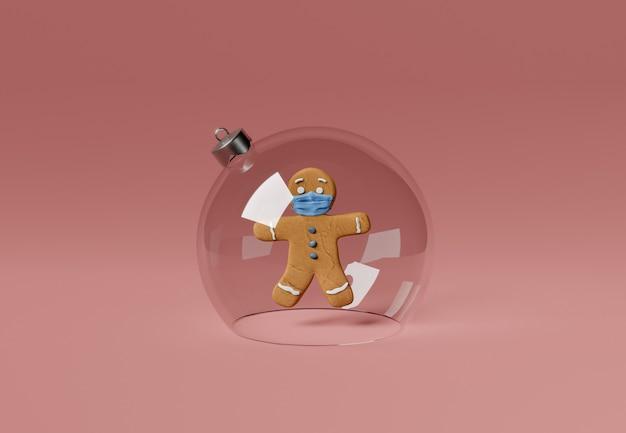 Lebkuchenmann mit gesichtsmaske in einer weihnachtskugel