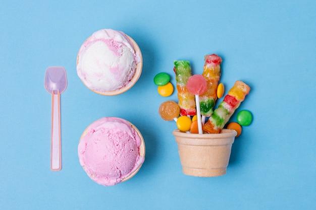 Leckere auswahl an eis und süßigkeiten