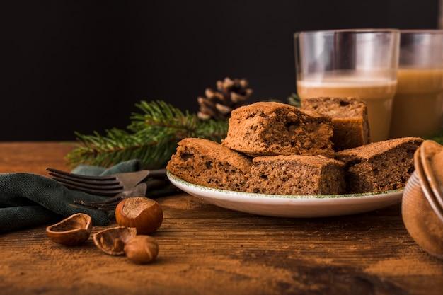 Leckere brownies mit kastanien