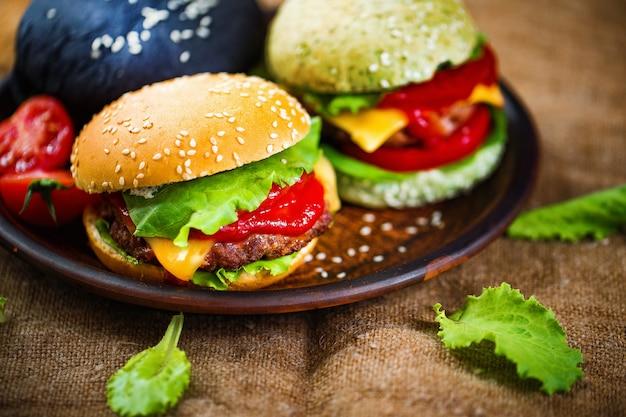 Leckere burger präsentation