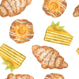 Leckere desserts. nahtloses muster. hand gezeichnete aquarellillustration. textur für druck, stoff, textil, tapete.