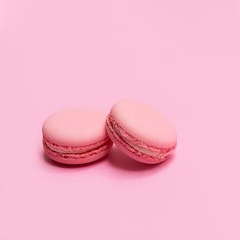 Leckere französische rosa makronen