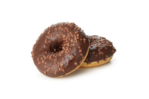 Leckere gebackene donuts lokalisiert auf weißem hintergrund