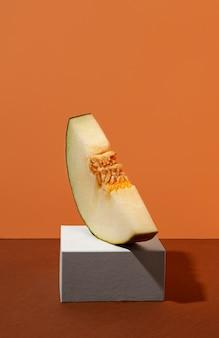 Leckere gelbe melonenscheibe