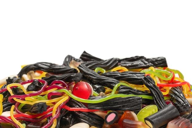 Leckere gelee-süßigkeiten. draufsicht. Premium Fotos