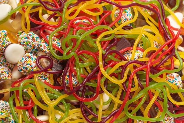 Leckere gelee-süßigkeiten. draufsicht.