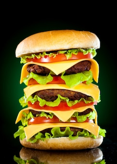 Leckere hamburger und pommes