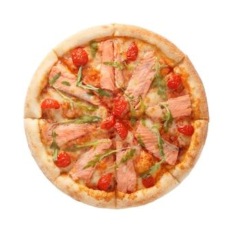 Leckere meeresfrüchtepizza mit lachs und tomaten