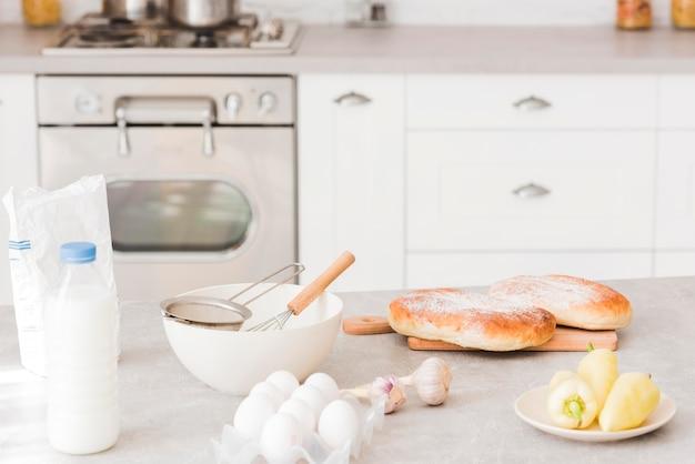 Leckere milchprodukte und gemüse