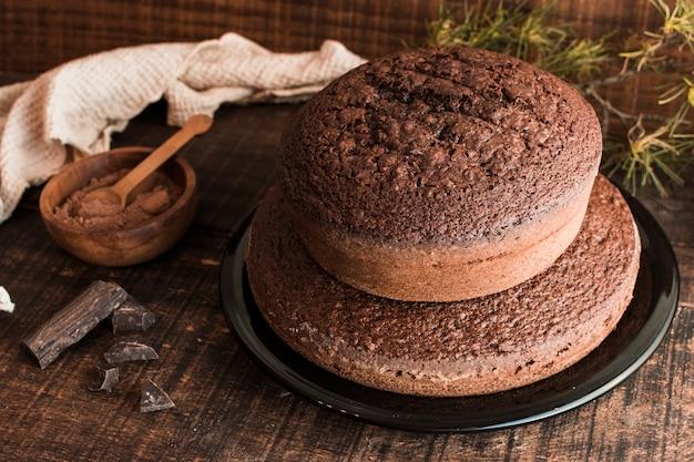 Leckere schokoladen- und kuchenzusammensetzung