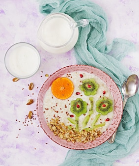 Leckerer und gesunder haferbrei mit kiwi, granatapfel und nüssen. gesundes frühstück. fitness essen. richtige ernährung. ansicht von oben
