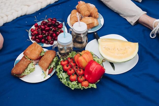 Leckeres frisches gemüse auf dem teller. nahaufnahme von umweltfreundlichem gemüse auf dem teller. sommer picknick gemüse. salat, tomaten, paprika und gurken.