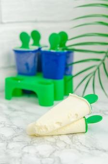 Leckeres hausgemachtes eis in einer speziellen form zum einfrieren. hausgemachte süße leckereien, desserts.