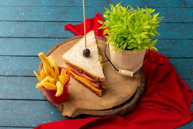 Leckeres sandwich der draufsicht mit käseschinken innen mit pommes frites und grüner pflanze auf dem blauen hölzernen schreibtischsandwich-nahrungsmittelessen