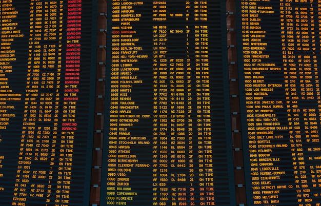 Led-bildschirm zeitplan für flüge abflüge