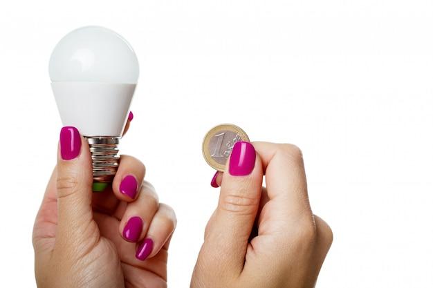 Led-lampe und münzen