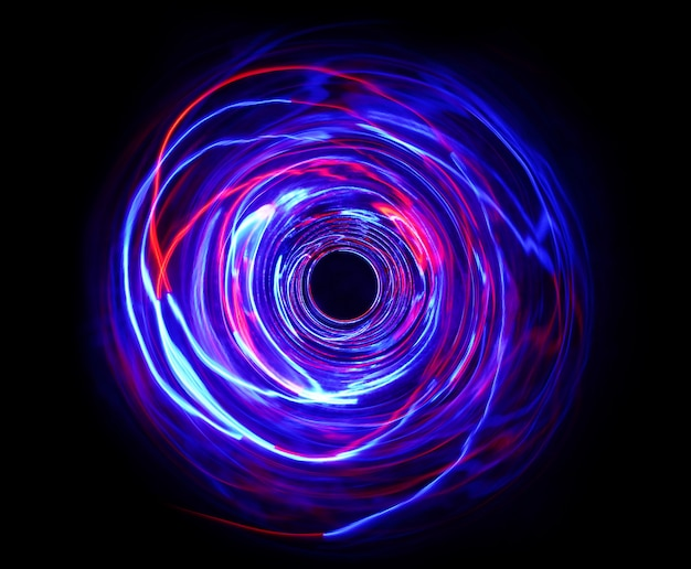 Led-rot- und blaulicht bei langzeitbelichtung bei dunkelheit.