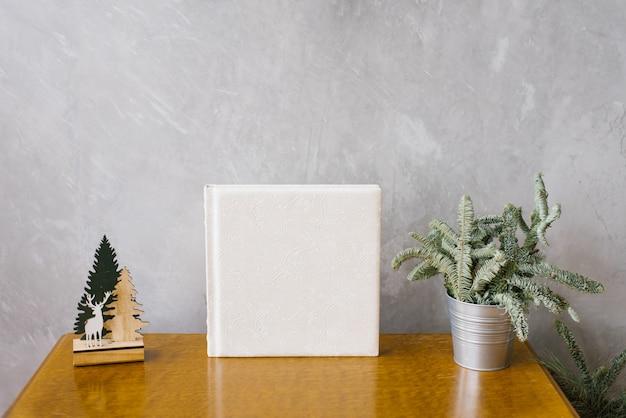 Leder-fotobuch weiß mit weihnachten