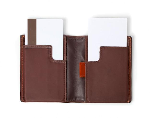 Leder-geldbörse und kreditkarte
