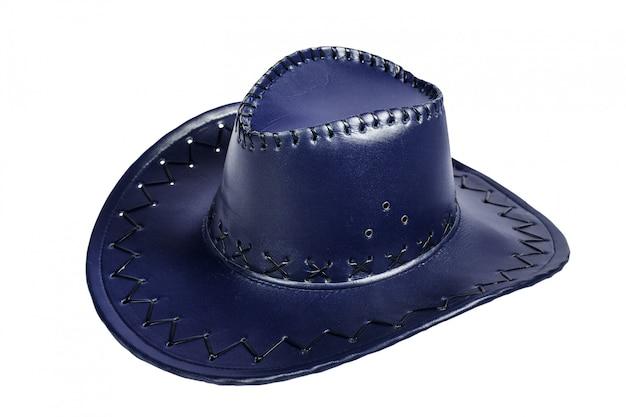 Lederner blauer cowboyhut lokalisiert auf weißem hintergrund