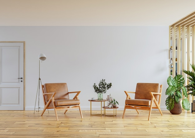 Ledersessel im modernen wohnungsinterieur mit leerer wand und holztisch, 3d-rendering