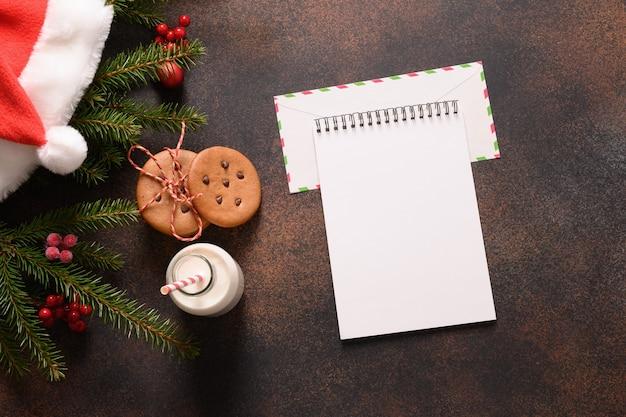 Leer für brief an den weihnachtsmann und milch, lebkuchen