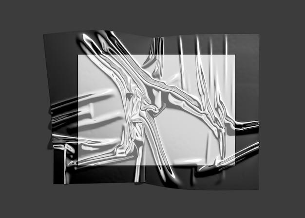 Leer schwarz mit weißer plastikfolienhülle mock up leere einweg transparente folie moclup