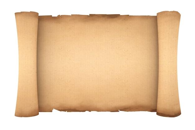 Leere alte papierrolle pergament mockup auf weißem hintergrund. 3d-rendering