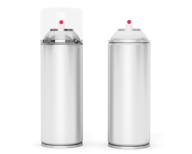 Leere aluminium-sprühdose auf weißem hintergrund