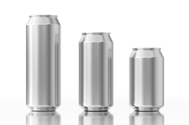 Leere aluminiumdosen mit freiem platz für ihr design auf weißem hintergrund. 3d-rendering