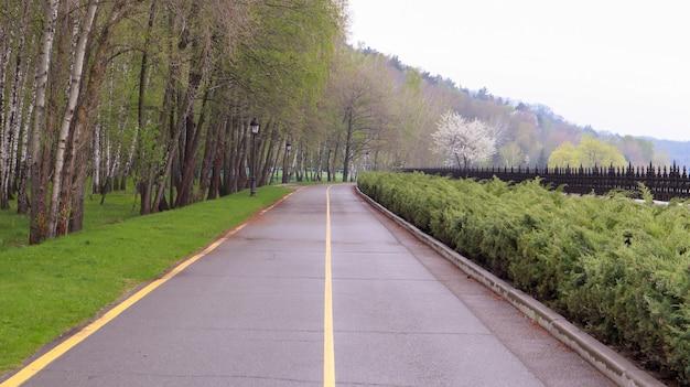Leere asphaltstraße mit einer gelben linie auf der straße