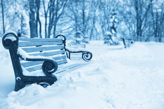 Leere bank im winterpark mit schnee bedeckt