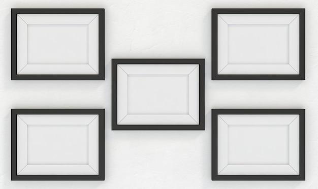 Leere bilderrahmenwand. 3d-rendering